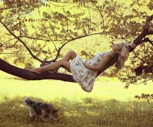 girl, dog, and tree image