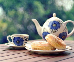 tea, donuts, and flowers image