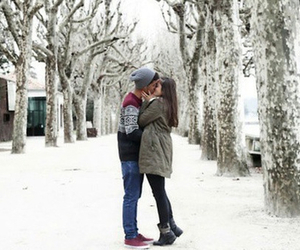 couple, snow, and cute image