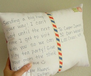 pillow, Letter, and gift image