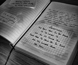 black and white, love quotes, and notebook image