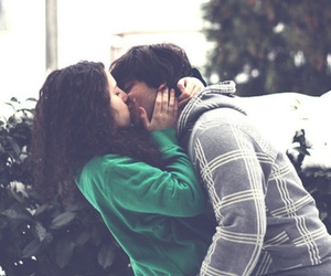 kiss, love, and couple image