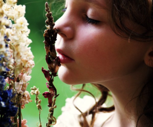 closed eyes, hair, and flower image