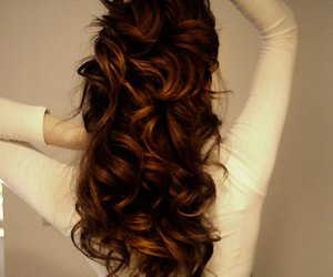 hair, curls, and brunette image