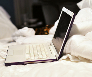 laptop, white, and bed image