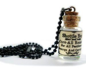 bottle, Letter, and necklace image