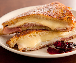 cheese, ham, and toast image