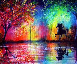 horse, rainbow, and trees image