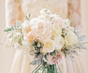 dress, wedding bouquets, and lace image