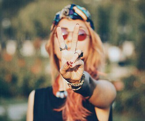 girl, peace, and hippie image
