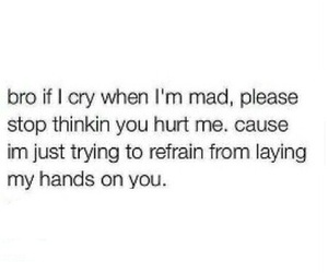 cry, hurt, and mad image