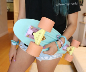 girl, tumblr, and skateboard image