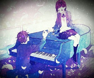 anime, piano, and couple image