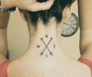 compass, ink, and tattoos for women image