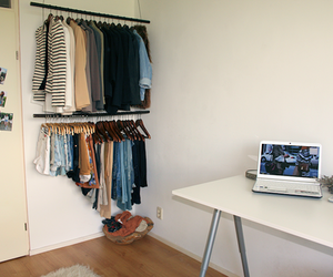 clothes, room, and laptop image
