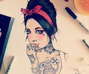 drawing, girl, and tattoo image