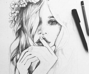 girl, draw, and drawing image