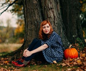 dress, oxford shoes, and polka dot image