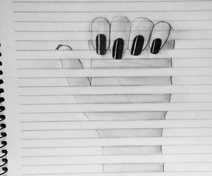 drawing, hand, and nails image