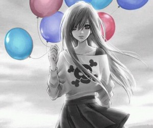 anime, girl, and balloons image