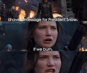 snow, hunger games, and mockingjagy image