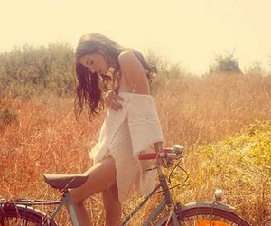 beautiful, girl, and bike image