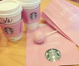 pink, starbucks, and coffee image