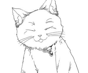 black & white, cat, and manga image
