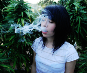 girl, smoke, and marijuana image