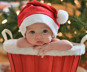 baby, christmas, and santa image