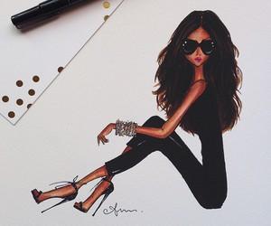 fashion, black, and illustration image