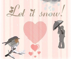 bird, couple, and snow image