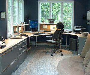 home decorating ideas, home office furniture, and home office lighting image