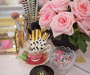 flowers, girly, and makeup image