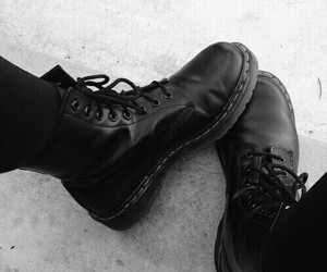 black and white, boots, and grunge image