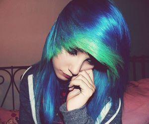 alt girl, Piercings, and blue hair image