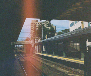 light, train, and vintage image