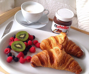 breakfast, bed, and nutella image