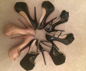 black, red, and high heels image