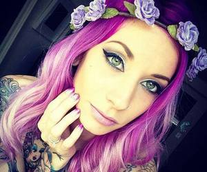 hair, purple, and tattoo image