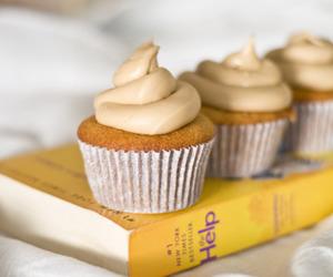 cupcake, book, and cake image