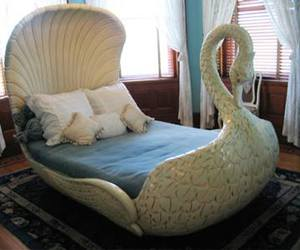 bed, Swan, and bedroom image