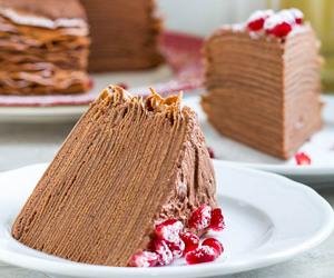 cake, chocolate, and crepe image