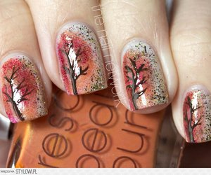nails, nail art, and tree image