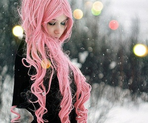 pink, hair, and snow image