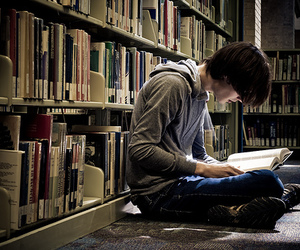 boy, book, and library image