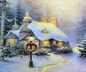 christmas tree, house, and snow image