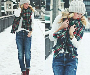 lovely, scarf, and sweater image