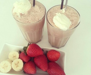 strawberry, food, and banana image