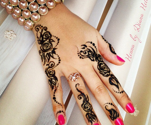 flowers, henna, and roses image